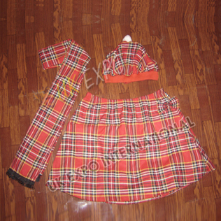 School Uniform Cap Shawl and Skirt