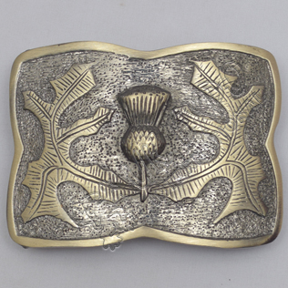 Scotland Flower Leaf Brass Antique Kilt Belt Buckle