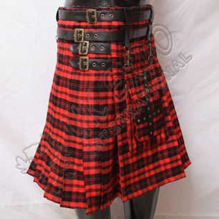 Scottish Amorous Fashion Tartan Kilts with 4 Straps and Buckles