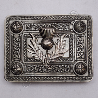 Scottish Antique Celtic Design Kilt Buckle With Thistle Badge