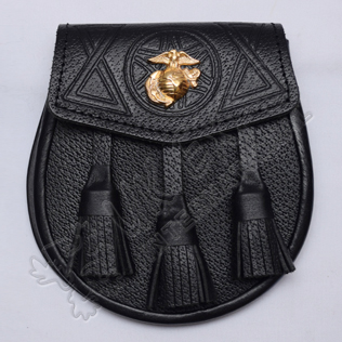 Scottish Black Grain Leather Celtic Design Sporran With US Marine Badge
