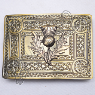 Scottish Brass Antique Celtic Design Buckle With Thistle Badge