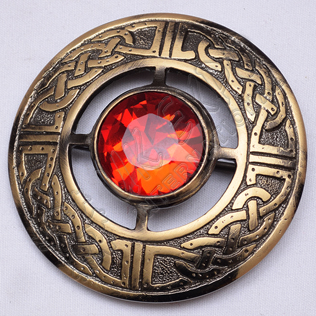 Scottish Bronze Celtic Design Ruby Stone Brooches