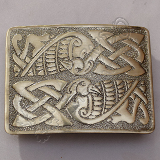 Scottish Celtic Bird Kilt Buckle With Brass Antique Finish