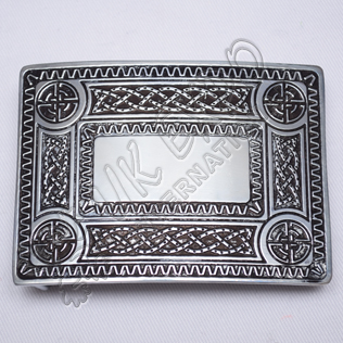 Scottish Celtic Design Black Color Filing Kilt Buckle