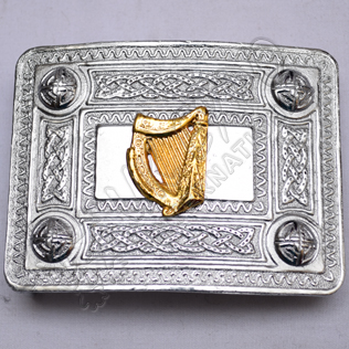Scottish Celtic Design Chrome Buckle With Brass Harp Badge
