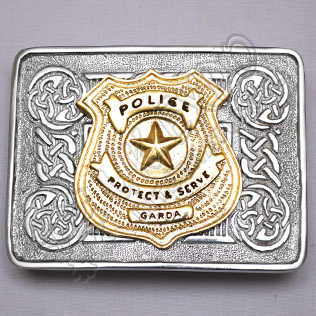 Scottish Celtic Design Chrome Buckle With Brass Police Protect & Serve Garda Badge