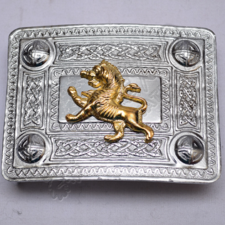 Scottish Celtic Design Chrome Buckle With Brass Rampart lion Badge