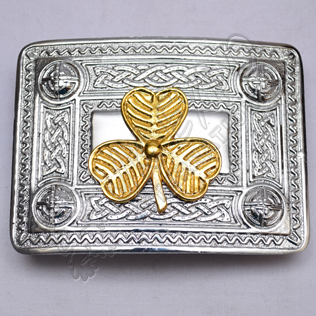 Scottish Celtic Design Chrome Buckle With Brass Shamrock Badge