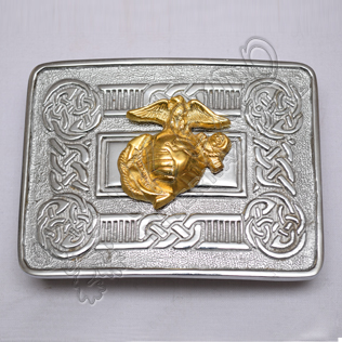 Scottish Celtic Design Chrome Buckle With Brass Us Marine Badge