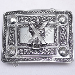 Scottish Celtic Design Kilt Buckle Black Color Filing With St Andrews Badge