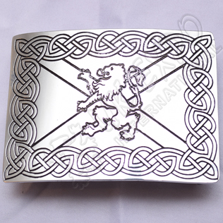 Scottish Celtic Rampart lion Chrome Buckle With Black Color Filing