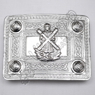 Scottish Chrome Celtic Design Buckle With St Andrews Badge