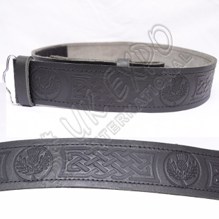 Scottish Flower and Celtic knot work Embossed on Black Color orignal Leather Kilt Belt
