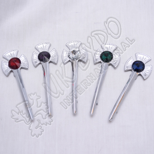 Scottish Flower Color filled Ruby stone Kilt Pin