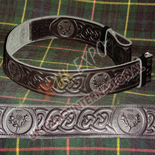 Scottish Flower Embossing on Black Kilts Leather Belt