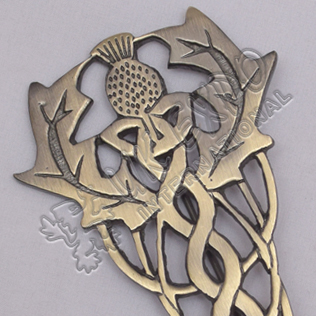Scottish Flower Primium Celtic Brass Antique Kilt Pin