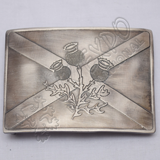 Scottish Flower Shiny Antique Kilt Buckle
