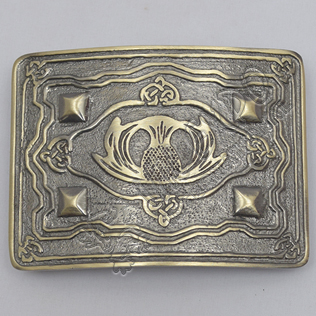 Scottish Flower With 4 Dimonds Brass Antique Kilt Belt Buckle