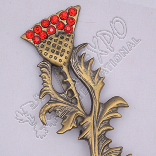 Scottish Flower With Leaf Stone Brass Antique Kilt Pins