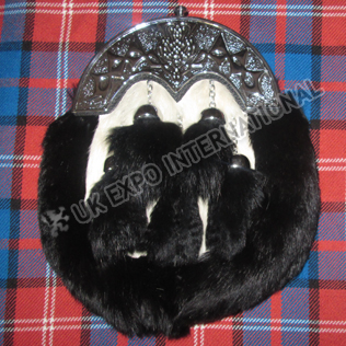 Scottish Full dress Rabbit Fur Sporran 5 black tessels with scottish cantle