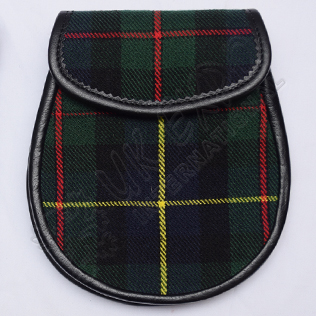 Scottish Hunting Stewart Tartan Sporran With Leather Backing & Belt Chain