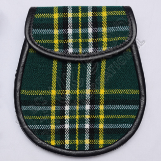 Scottish Irish National Tartan Sporran With Leather Backing & Belt Chain