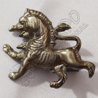 Scottish Rampart Lion Brass Antique Metal Badge
