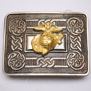 Scottish Shiny Antique Celtic Design Buckle With Brass Us Marine Badge