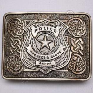 Scottish Shiny Antique Celtic Design Buckle With Police Protect & Serve Garda Badge