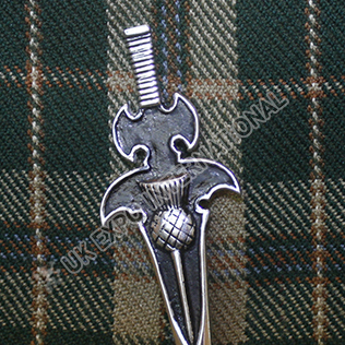 Scottish sword kilt pin black color filled
