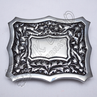 Scottish Thistle Design Black Color Filing Kilt Buckle