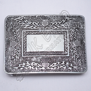 Scottish Thistle Kilt Buckle With Black Color Filing