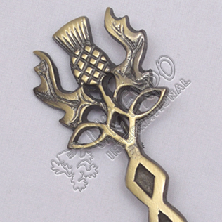 Scottish Thistle Knot Work Brass Antique Kilt Pin