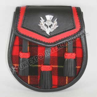 Scottish Wallace Tartan with Black and Red leather Day wear Sporran