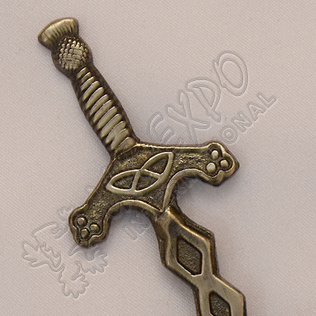Scottish word with knot work kilt pins Antique shiny Brush