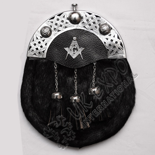 Seal Skin Black Sporran with Masonic Badge on leather Backing