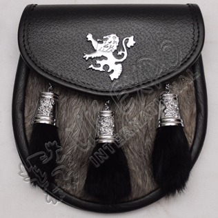 Semi Dress chrome Plated Rampart Lion and cups with multi gray furr Sporran