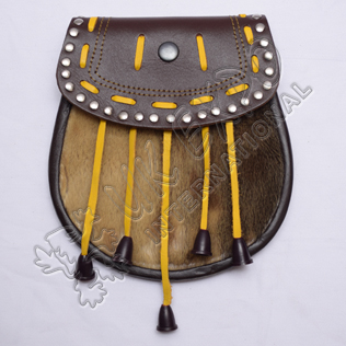 Semi Dress Sporran Seal Skin With Round Studs on Flap and Yellow Laces and Tassels