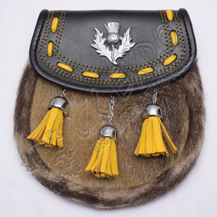 Semi dress sporran yellow laces and three yellow tassels with thistle on flap