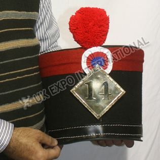 Shako Hat Red Strip on top Red