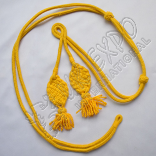 Shako cord Yellow wool with square Russian braid