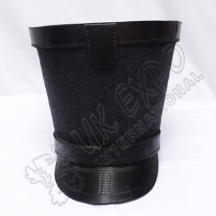 Shako Hat with Black Leather Band on Top and Black Color Threads