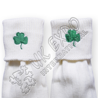 Shamrock Embroidary on Kilt Socks