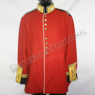 Shamrock on collar Red Color COLDSTREAM GUARDS OFFICER COLONEL DRESS TUNIC JACKET