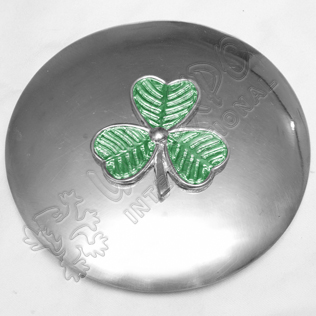 Shamrock Plaid Brooch With Green Color Filling