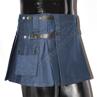 Shorter Womens Utility Kilt navy New four leather straps