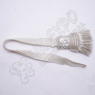 Silver Braid Sword Knots With Silver fringes