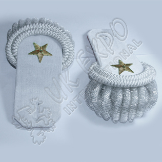 Silver Bullion Shoulders/Epaulette with Frings and Hand Embroider Gold Bullion Star on it