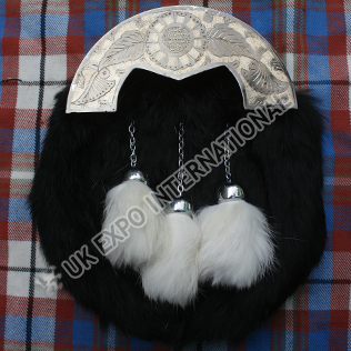 Silver Cantle Antique Finish with Black Rabbit Fur Sporran